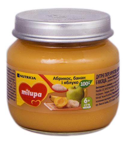 Milupa Пюре Абрикос, банан і яблуко з 6 місяців 100 г 1 банка