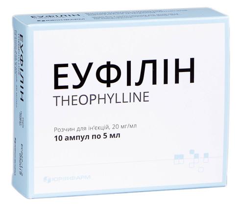 Еуфілін розчин для ін'єкцій 20 мг/мл 5 мл 10 ампул
