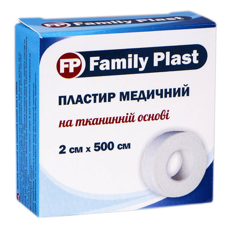 Family Plast Пластир медичний на тканинній основі 2х500 см 1 шт