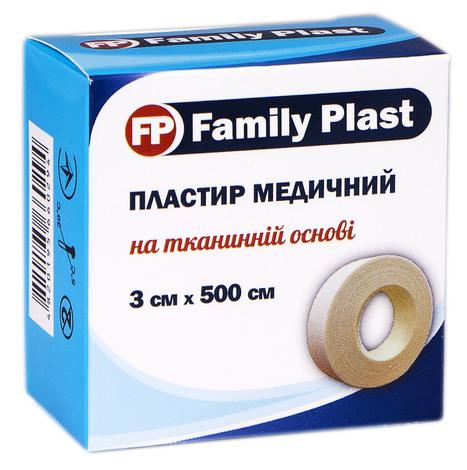 Family Plast Пластир медичний на тканинній основі 3 х 500 см 1 шт