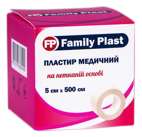 Family Plast Пластир медичний на нетканій основі 5х500 см 1 шт