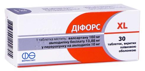 Діфорс XL таблетки 10 мг/160 мг  30 шт