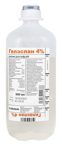 Геласпан розчин для інфузій 4 % 500 мл 10 флаконів