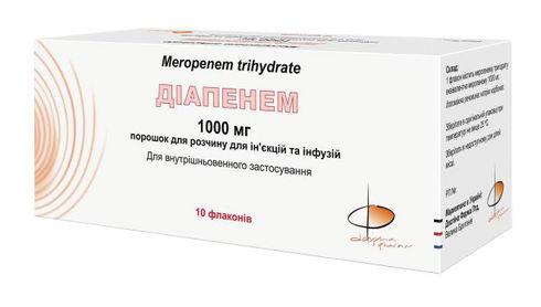 Діапенем порошок для ін'єкцій та інфузій 1000 мг 10 флакон