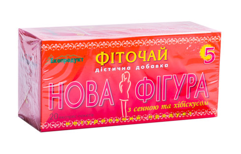 Нова Фігура Фіточай для схудення №5 з сеною та хібіскусом 2 г 20 фільтр-пакетів