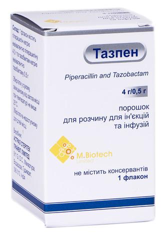 Тазпен порошок для ін'єкцій та інфузій 4 г/0,5 г  1 флакон