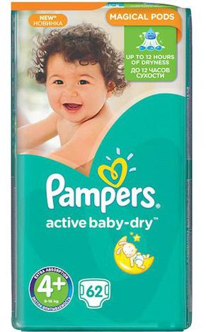 Pampers Active Baby-Dry 4+ Maxi Plus Підгузки дитячі 9-16 кг 62 шт