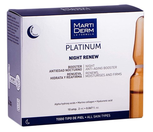MartiDerm Platinum Найт Ренью ампули антивіковий засіб-бустер для нічного догляду для всіх типів шкіри 2 мл 10 ампул