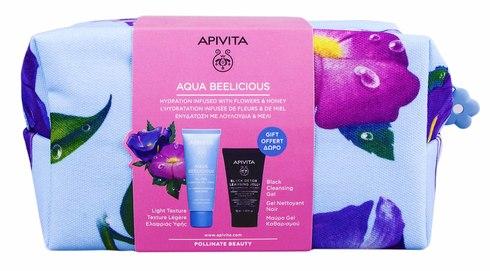 Apivita Aqua Beelicious гель-крем легкої текстури 40 мл +  чорний очищуючий гель 50 мл + косметичка 1 набір