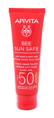 Apivita Bee Sun Safe Сонцезахисний тонуючий крем для обличчя проти пігментних плям та для захисту від старіння SPF 50 50 мл 1 туба
