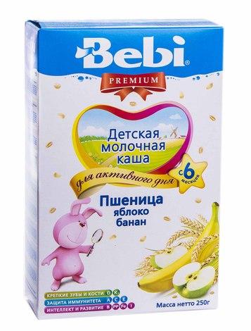 Bebi Premium Каша молочна пшениця, яблуко, банан з 6 місяців 250 г 1 коробка