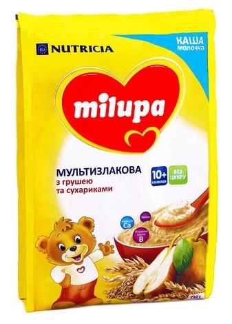 Milupa Каша молочна мультизлакова з сухариками та грушею з 10 місяців 210 г 1 пакет