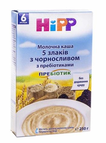 HiPP Каша молочна 5 злаків з чорносливом з пребіотиками з 6 місяців 250 г 1 коробка