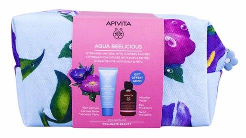 Apivita Aqua Beelicious крем насиченої текстури 40 мл + міцелярна вода 75 мл + косметичка 1 набір