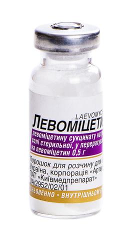 Левоміцетин порошок для ін'єкцій 0,5 г 1 флакон