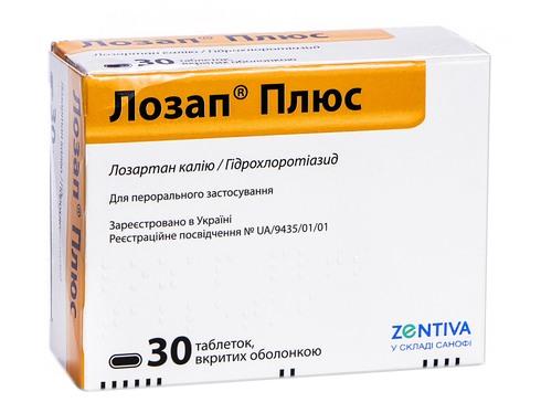 Лозап Плюс таблетки 50 мг/12,5 мг  30 шт