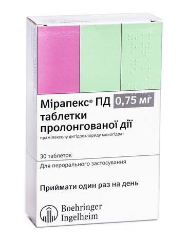 Мірапекс ПД таблетки 0,75 мг 30 шт