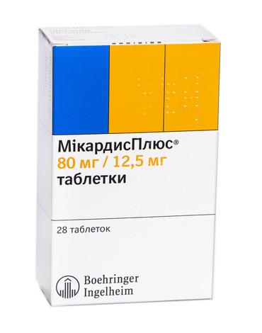 МікардисПлюс таблетки 80 мг/12,5 мг  28 шт