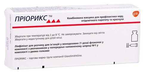 Пріорикс ліофілізат для розчину для ін'єкцій 1 шприц