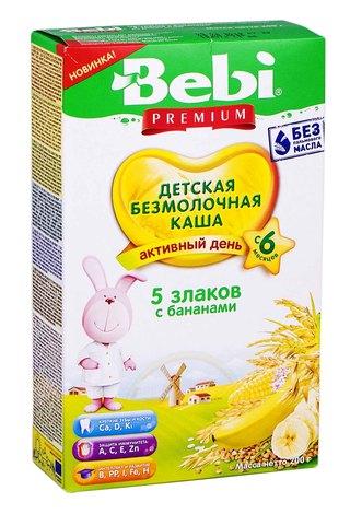 Bebi Каша безмолочна 5 злаків з бананами з 6 місяців 200 г 1 коробка