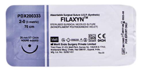 Meril Filaxyn 2/0 Шовний матеріал 70 см фіолетовий, колюча голка 26 мм 1/2 кола PDX200333 1 шт