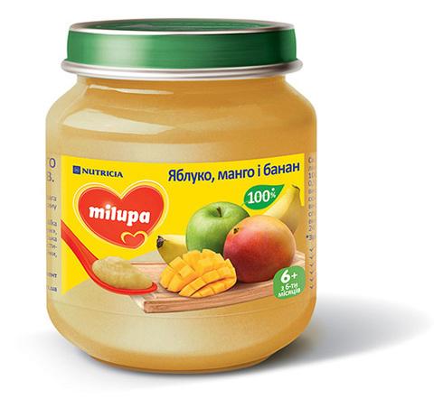 Milupa Пюре Яблуко, манго і банан з 6 місяців 125 г 1 банка
