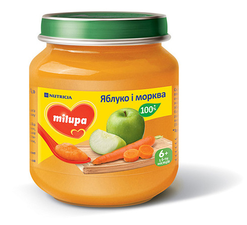 Milupa Пюре Яблуко і морква з 6 місяців 125 г 1 банка