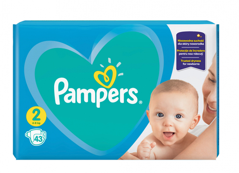 Pampers New Baby-Dry 2 Mini Підгузки дитячі 4-8 кг 43 шт