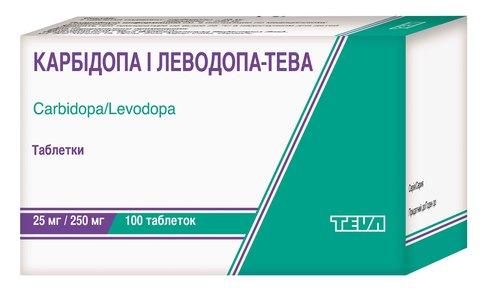 Карбідопа і Леводопа Тева таблетки 25 мг/250 мг  100 шт