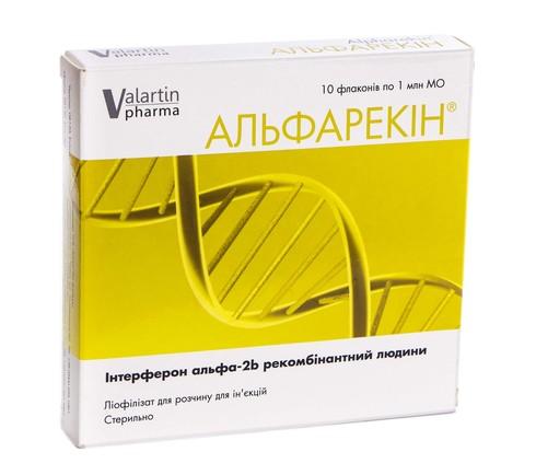 Альфарекін ліофілізат для розчину для ін'єкцій 1 млн МО 10 флаконів
