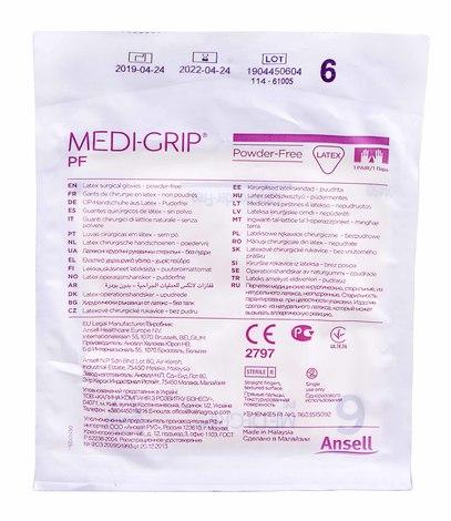 Ansell Medi-Grip PF Рукавички хірургічні латексні стерильні неопудренні розмір 6 1 пара