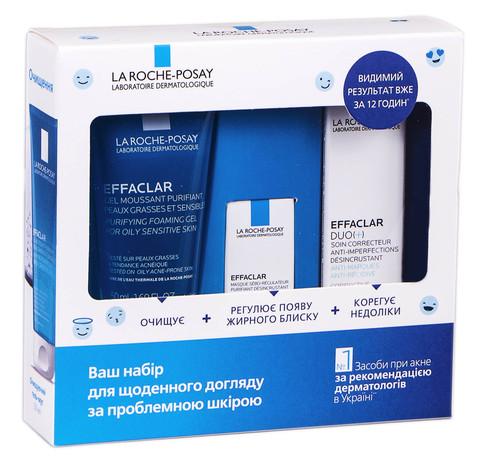 La Roche-Posay Effaclar очищаючий гель-мус 50 мл + Duo+ корегуючий засіб 15 мл + маска 3 мл 1 набір