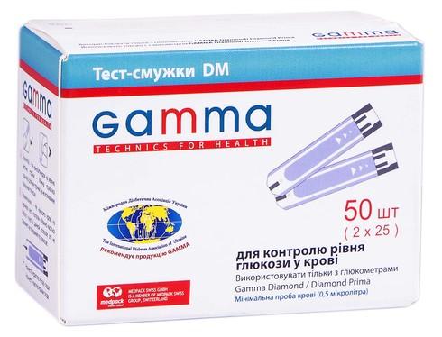 Gamma Тест-смужки DM для контролю рівня глюкози у крові 50 шт