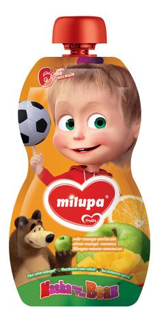 Milupa Пюре Маша і Ведмідь Яблуко, манго, апельсин, морква від 6 місяців 100 г 1 банка