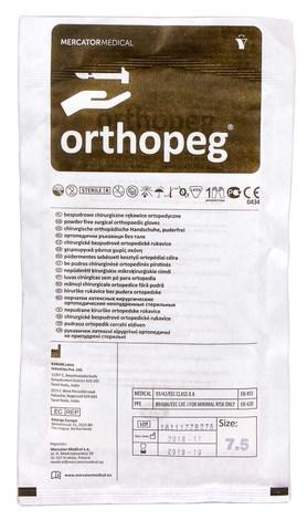 Orthopeg Рукавички латексні хірургічні ортопедичні неприпудрені стерильні розмір 7,5 1 пара