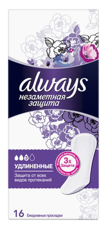 Always Гігієнічні щоденні прокладки подовженні Непомітний Захист 16 шт