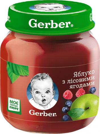 Gerber Пюре Яблуко з лісовими ягодами з 6 місяців 130 г 1 банка