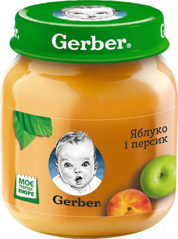 Gerber Пюре Яблуко і персик від 6 місяців 130 г 1 банка