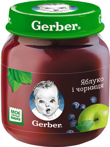 Gerber Пюре Яблуко і чорниця від 6 місяців 130 г 1 банка