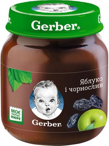 Gerber Пюре Яблуко і чорнослив від 6 місяців 130 г 1 банка