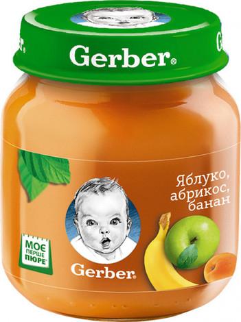 Gerber Пюре Яблуко, абрикос, банан з 6 місяців 130 г 1 банка