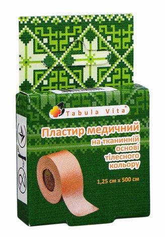 Tabula Vita Пластир медичний на тканинній основі тілесного кольору 1,25х500 см 1 шт