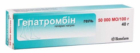 Гепатромбін гель 50000 МО/100 г  40 г 1 туба