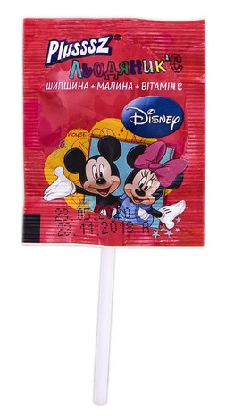 Льодяник'С Plusssz Disney з малиновим соком та екстрактом з плодів шипшини та вітаміном С льодяники 8 г 100 шт