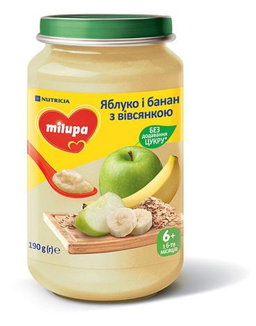Milupa Пюре Яблуко і банан з вівсянкою з 6 місяців 190 г 1 банка