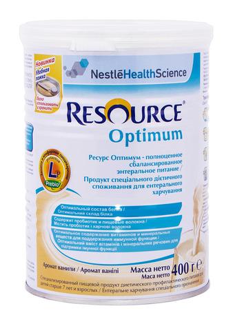 Nestle Ресурс Оптімум Суха суміш з ароматом ванілі від 7 років 400 г 1 банка