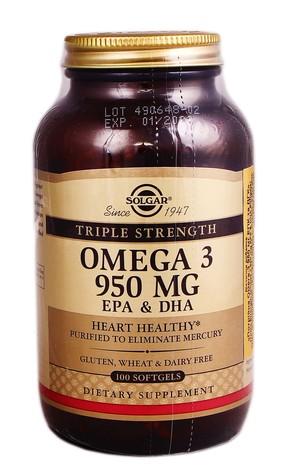 Solgar Потрійна Омега-3 950 мг ЕПК та ДГК капсули 100 шт