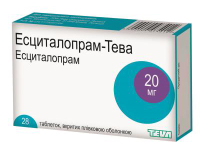 Есциталопрам Тева таблетки 20 мг 28 шт