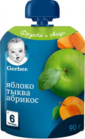 Gerber Пюре Яблуко, гарбуз, абрикос з 6 місяців 90 г 1 пауч
