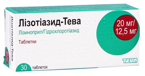 Лізотіазид Тева Табл 20 мг/12,5 мг н 30